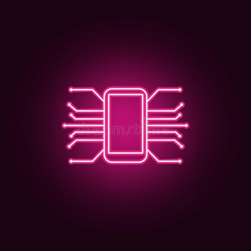 Smart phone Android mobile icon. Elements of artifical in neon style icons. Simple icon for websites, web design, mobile app, info. Graphics on dark gradient royalty free illustration