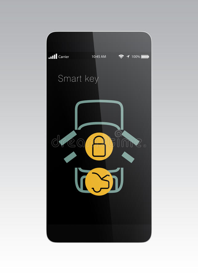 Download Smart Phone App For Lock And Unlock Car Door. Stock Illustration    Illustration Of