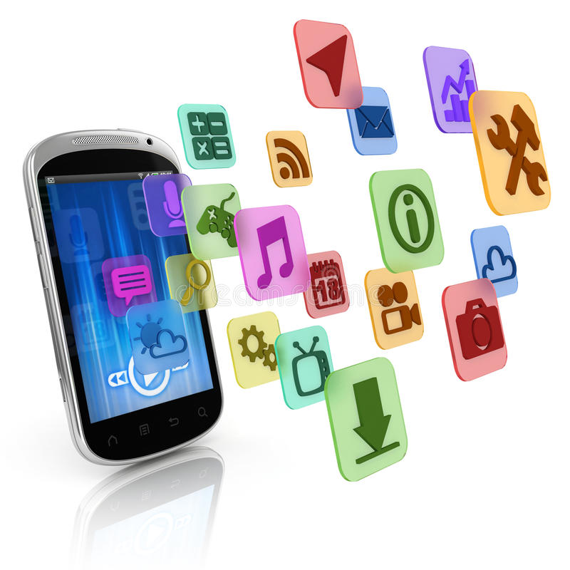 Smart phone application icons stock illustration