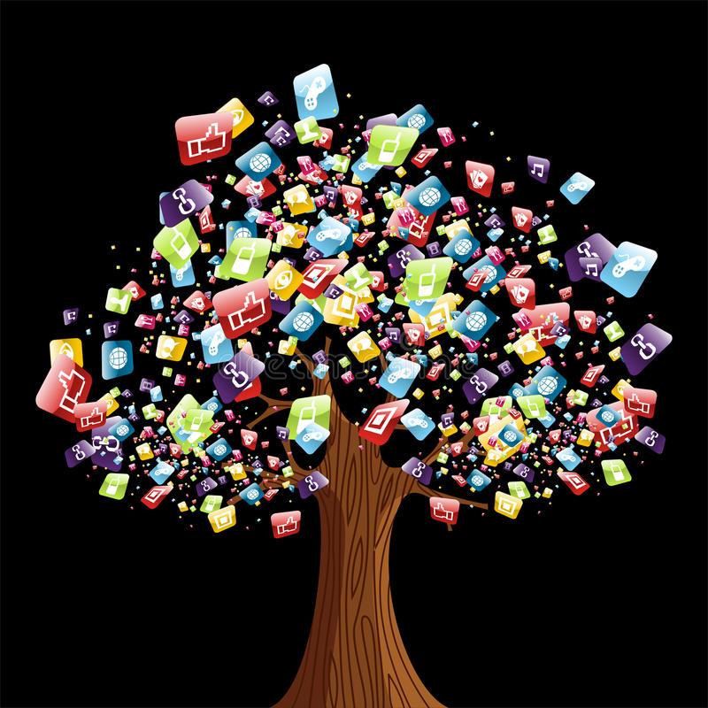 Smart phone application tree. Smart phone application icons tree. Vector illustration layered for easy manipulation and customisation royalty free illustration
