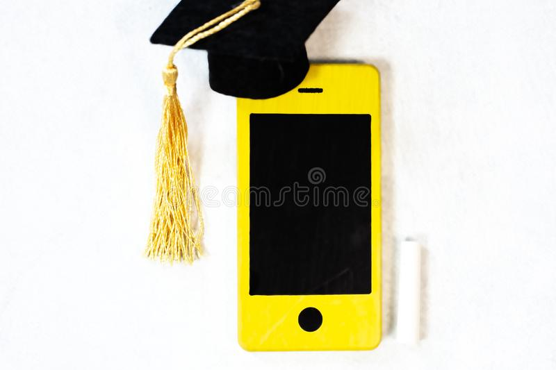 Smart phone as chalk blackboard royalty free stock image
