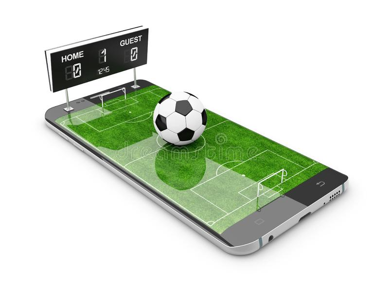 Smart phone as football field, watch online, bet online concept, 3d Illustration. Smart phone as football field, watch online, bet online concept, 3d royalty free illustration