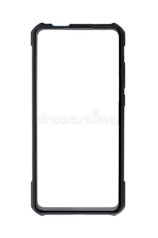 Smart phone with blank screen isolated on white background. Smart phone with selection path. Black, business, cell, cellphone, cellular, communication royalty free stock photography