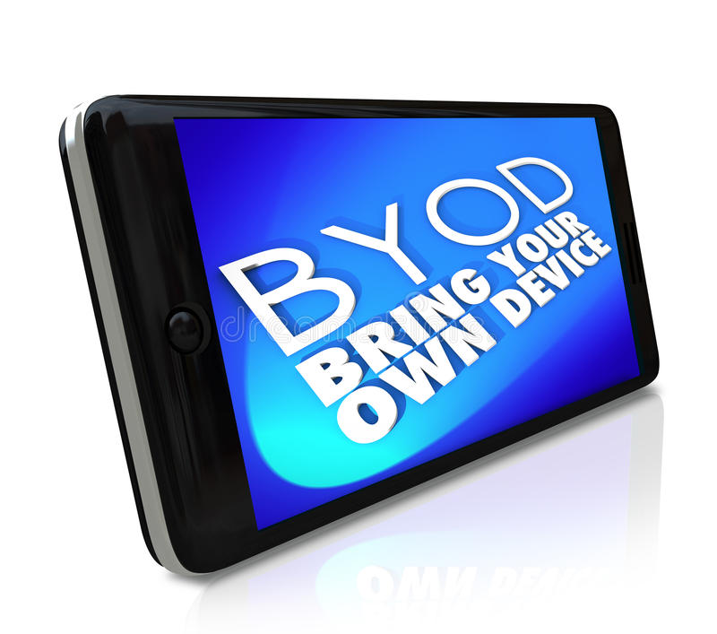 Smart Phone BYOD Bring Your Own Device Policy Job Work. BYOD Bring Your Own Device acronym or abbreviation and words on a blue screen of a smart cell phone to stock illustration