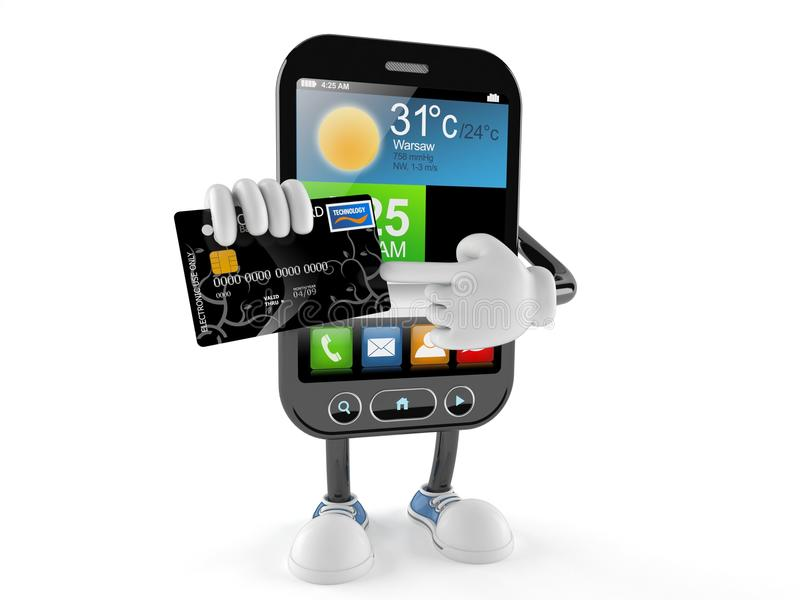 Smart phone character with credit card stock illustration
