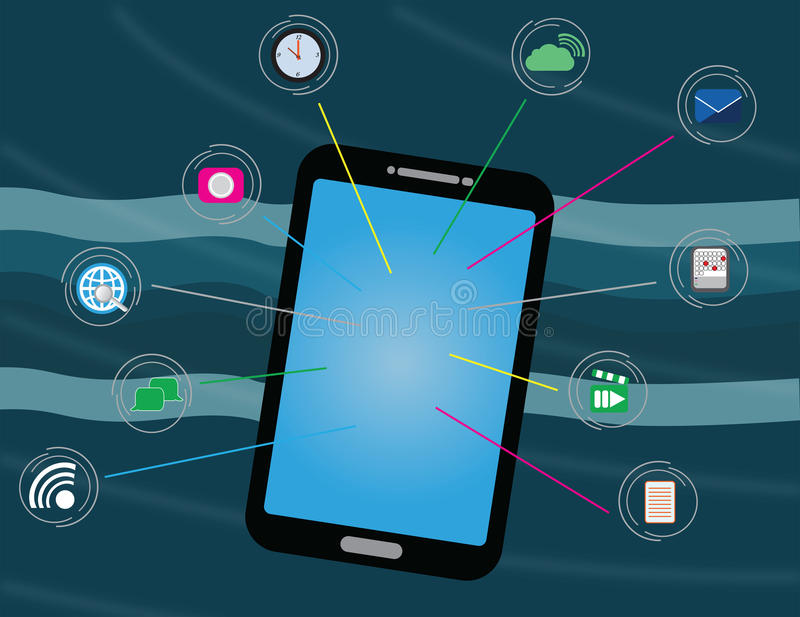 Smart phone communication and usage. Smart phone with 10 communication and web app icons royalty free illustration