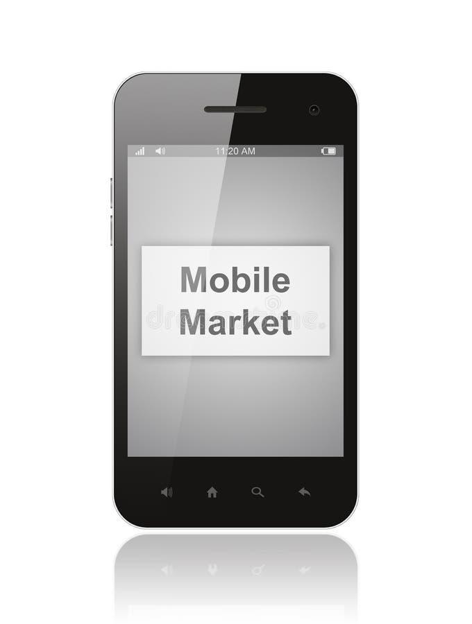 Smart Phone con il bottone mobile del mercato illustrazione di stock