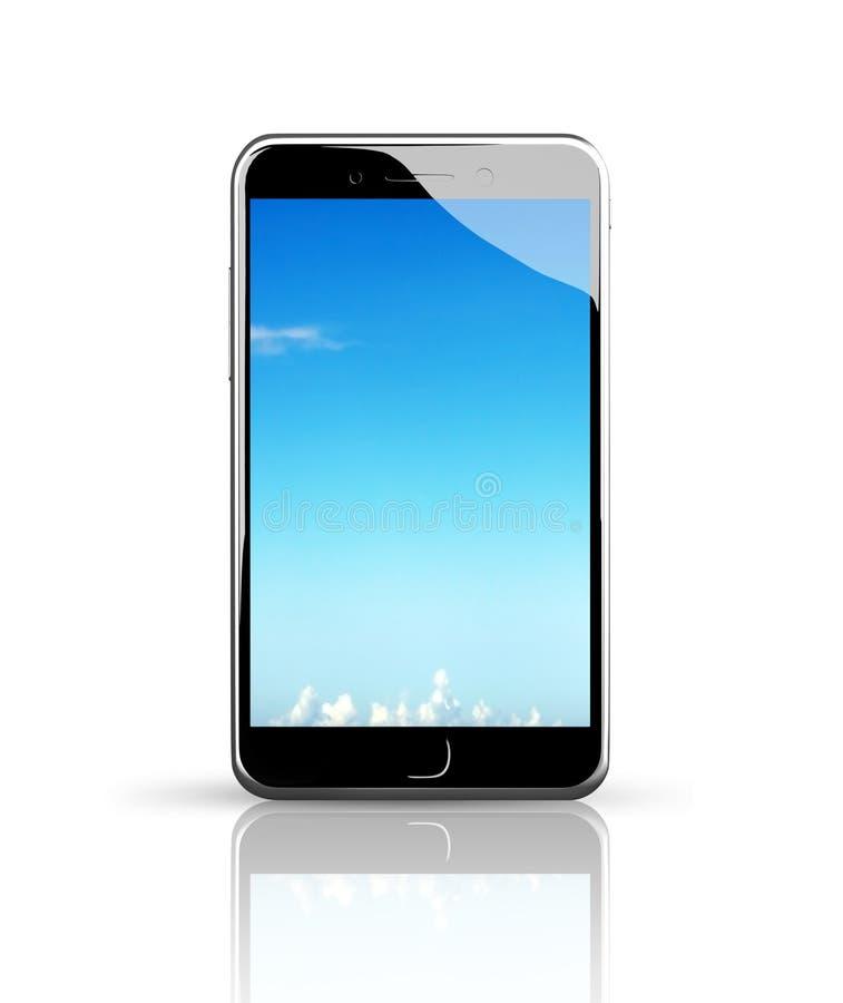 Smart Phone con il touch screen del cielo blu royalty illustrazione gratis