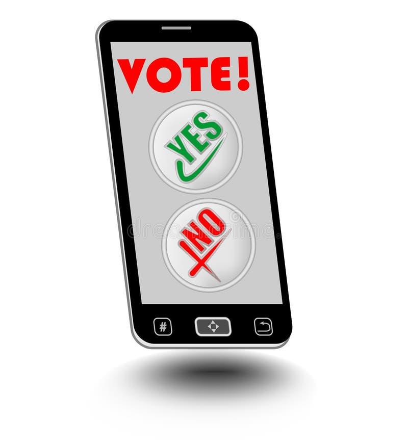 Smart Phone con l'esposizione ed i bottoni di voto sì, no Voto facile facendo uso dello Smart Phone illustrazione di stock