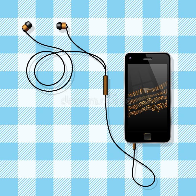 Smart Phone con le sue cuffie su una Tabella royalty illustrazione gratis