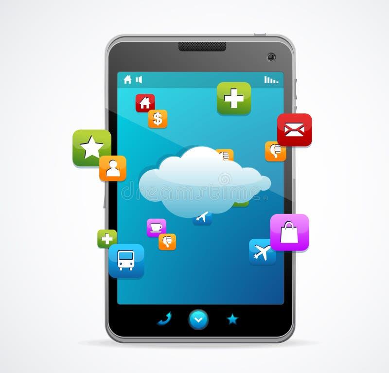 Smart Phone con lo schermo blu illustrazione vettoriale