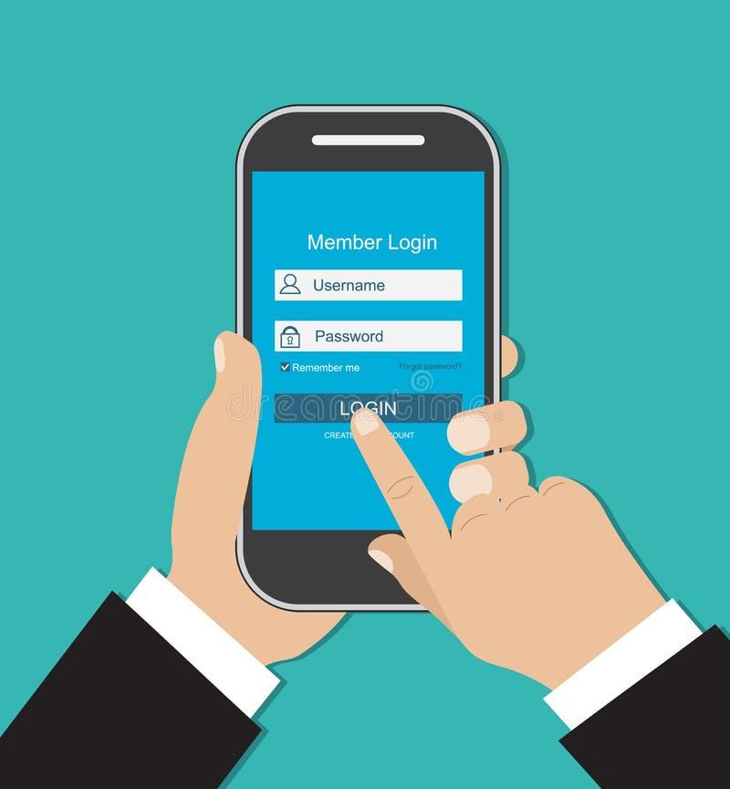 Smart Phone della tenuta della mano dell'uomo Modulo di collegamento royalty illustrazione gratis