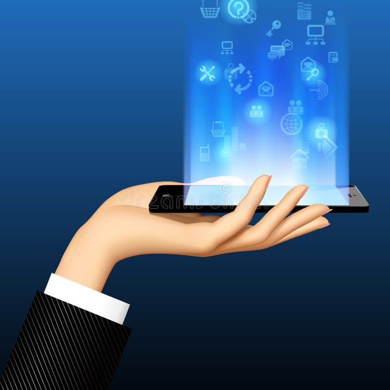 Smart Phone della tenuta della mano del ` s della donna orizzontalmente con l'accensione del blu illustrazione di stock