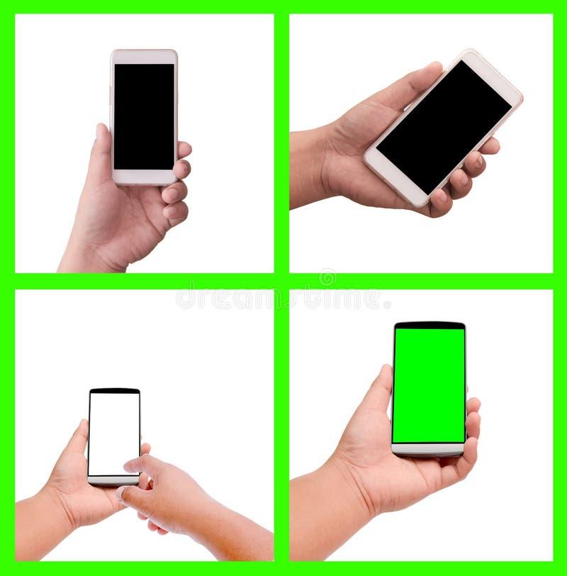 Smart Phone della tenuta della mano della raccolta fotografia stock libera da diritti