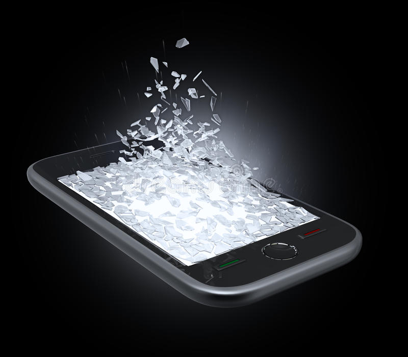 Smart phone display being shattered royalty free illustration