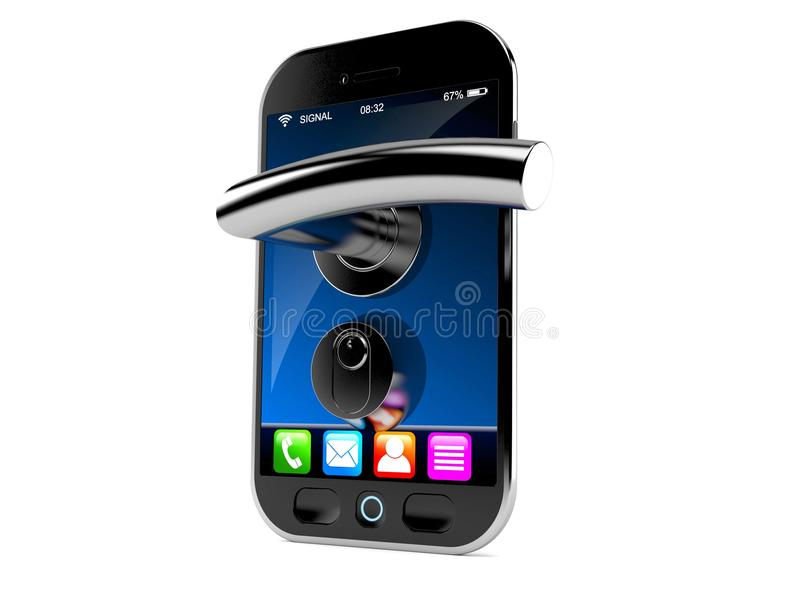 Smart phone with door handle royalty free illustration