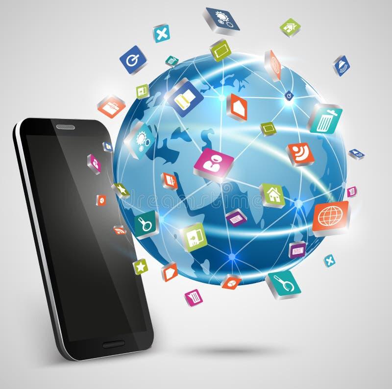 Smart Phone e media del sociale dei collegamenti del globo illustrazione di stock