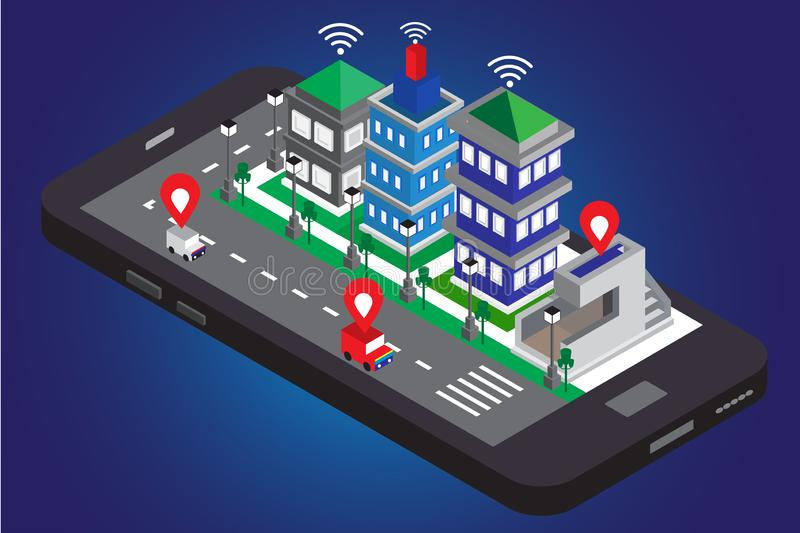 Smart phone flat 3 d mobile and modern building isometric city with road light, car, map, wifi and green tree a long on street. Concept vector background royalty free illustration