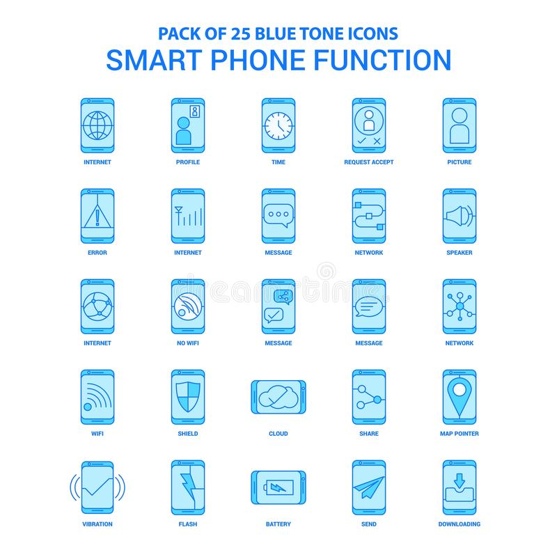 Smart phone functions Blue Tone Icon Pack - 25 Icon Sets. This Vector EPS 10 illustration is best for print media, web design, application design user vector illustration