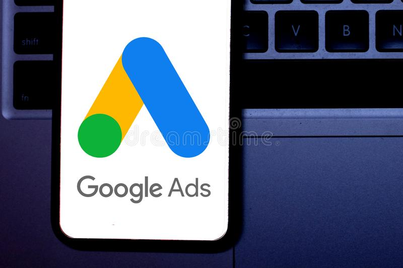 Smart phone with the Google Ads logo. Is a service and program of the company Google royalty free stock image