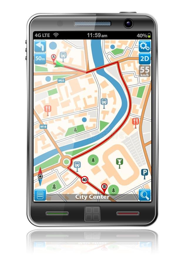 Smart Phone with GPS Navigation Application vector illustration