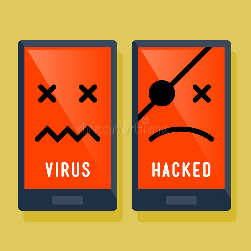 Smart Phone Hacker And Virus Attack Icon royalty free illustration