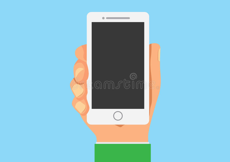 Smart phone in hand mock up. Flat cartoon version vector illustration