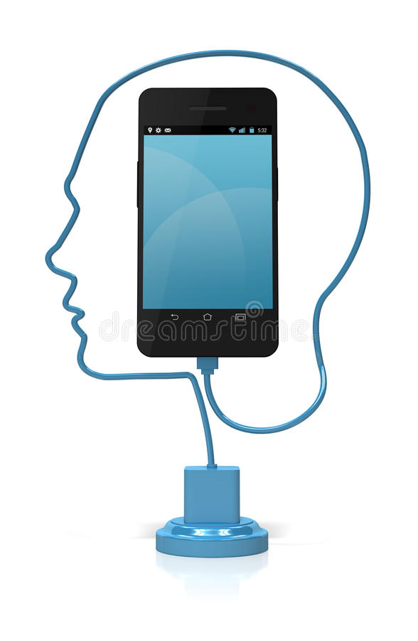 Smart Phone Head Smart Royalty Free Stock Photos