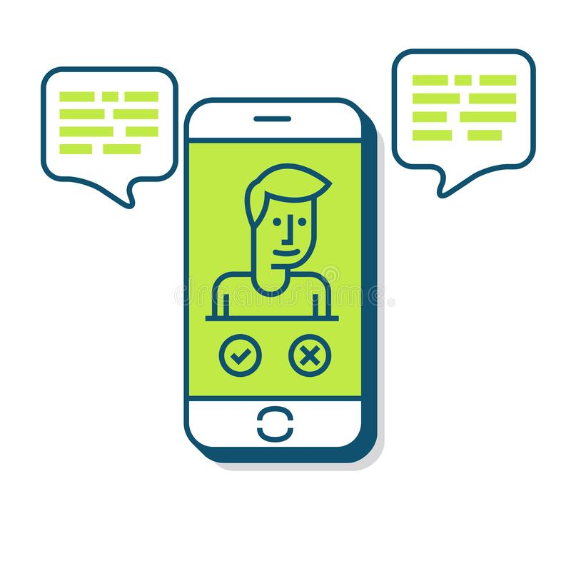 Smart Phone Illustration in Flat Linear Vector Style stock illustration