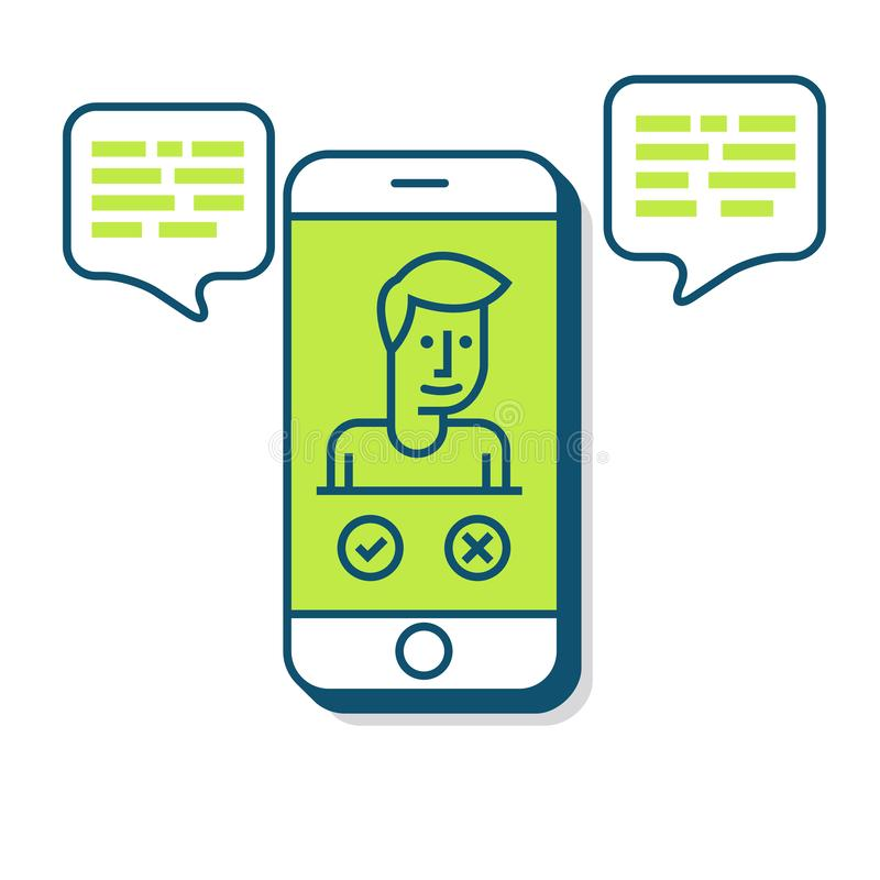 Smart Phone Illustration in Flat Linear Vector Style vector illustration
