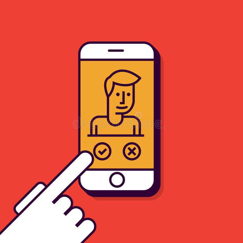 Smart Phone Illustration in Flat Linear Vector Style royalty free illustration