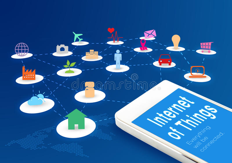 Smart phone with Internet of things (IoT) word and objects icon stock illustration