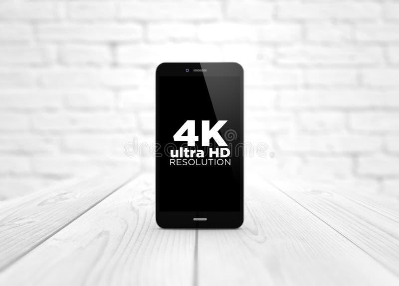 Smart Phone 4k sopra la tavola di legno illustrazione di stock