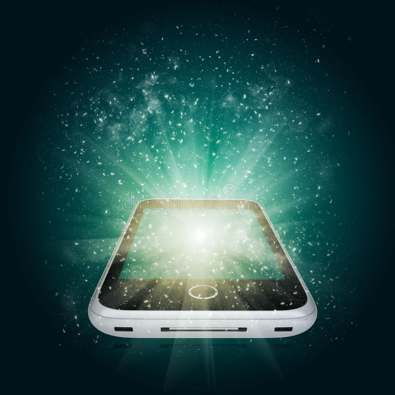 Smart phone with magic light and falling stars stock illustration