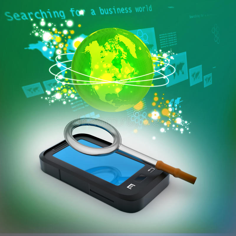 Smart phone with magnifying glass vector illustration
