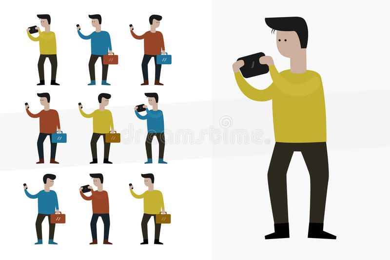Smart Phone Man Cartoon Character. Office worker collection set vector illustration
