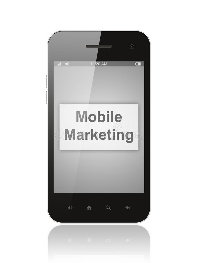 Smart phone with mobile marketing button vector illustration