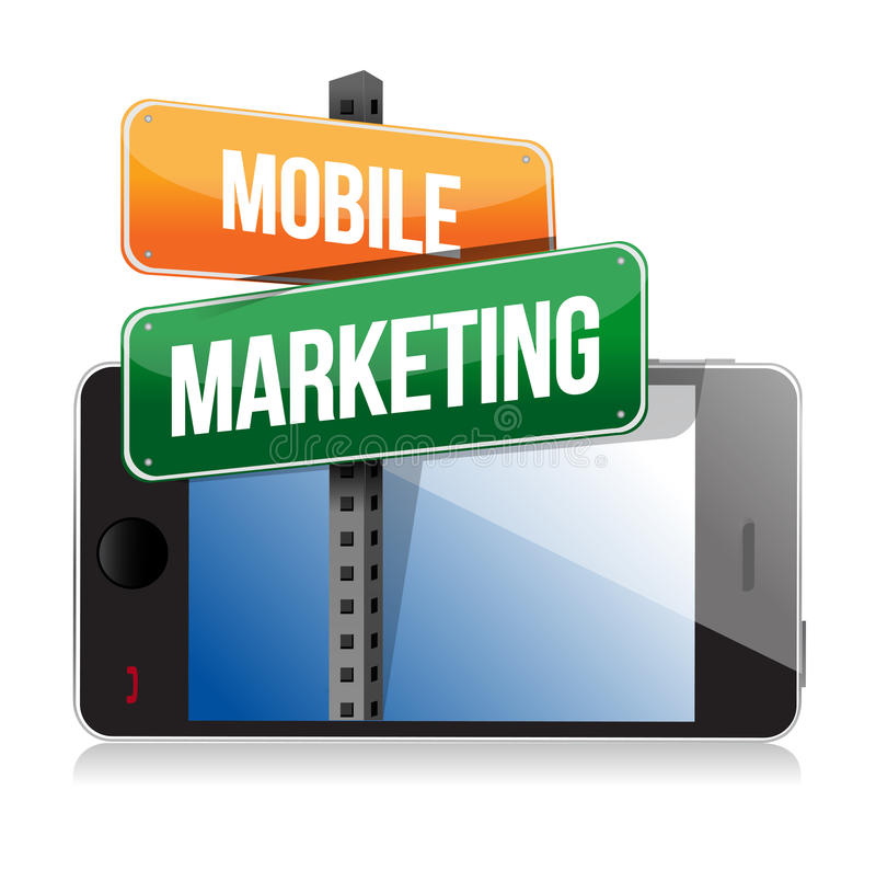 Smart phone with mobile marketing sign vector illustration