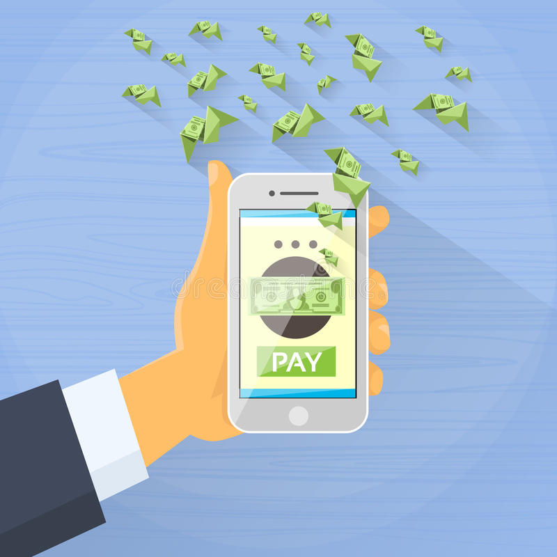 Smart Phone Mobile Payment Checkout Businessman. Hand Pay Concept Green Dollar Fly Flat Vector Illustration vector illustration