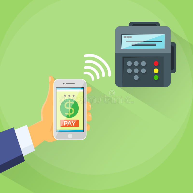 Smart Phone Mobile Payment Device Nfc Terminal. Checkout Businessman Hand Contact Less Pay Flat Vector Illustration vector illustration