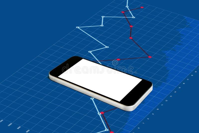 Smart Phone mobile, schermo bianco vuoto sul fondo d'innalzamento blu del grafico illustrazione vettoriale