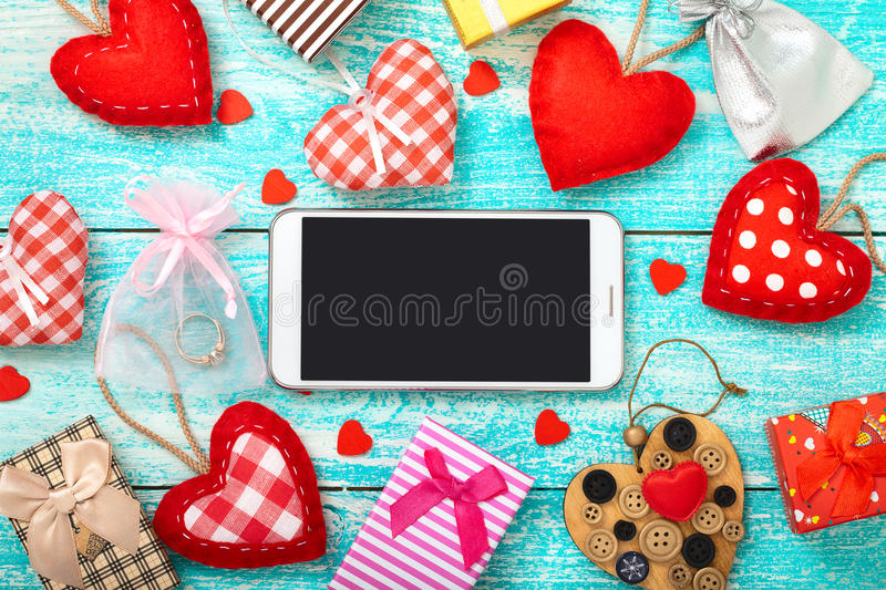 Smart phone mock up with rustic for Valentine's day royalty free stock image