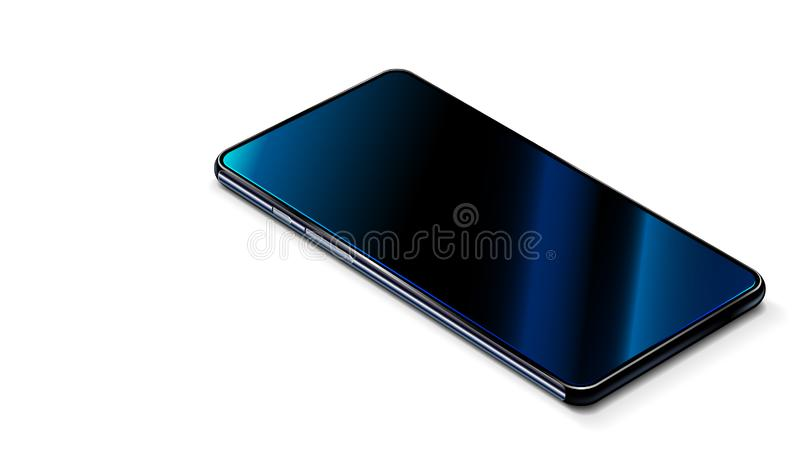 Smart phone modern black on white table. perspective view. Realistic smart phone is a touchscreen vector illustration