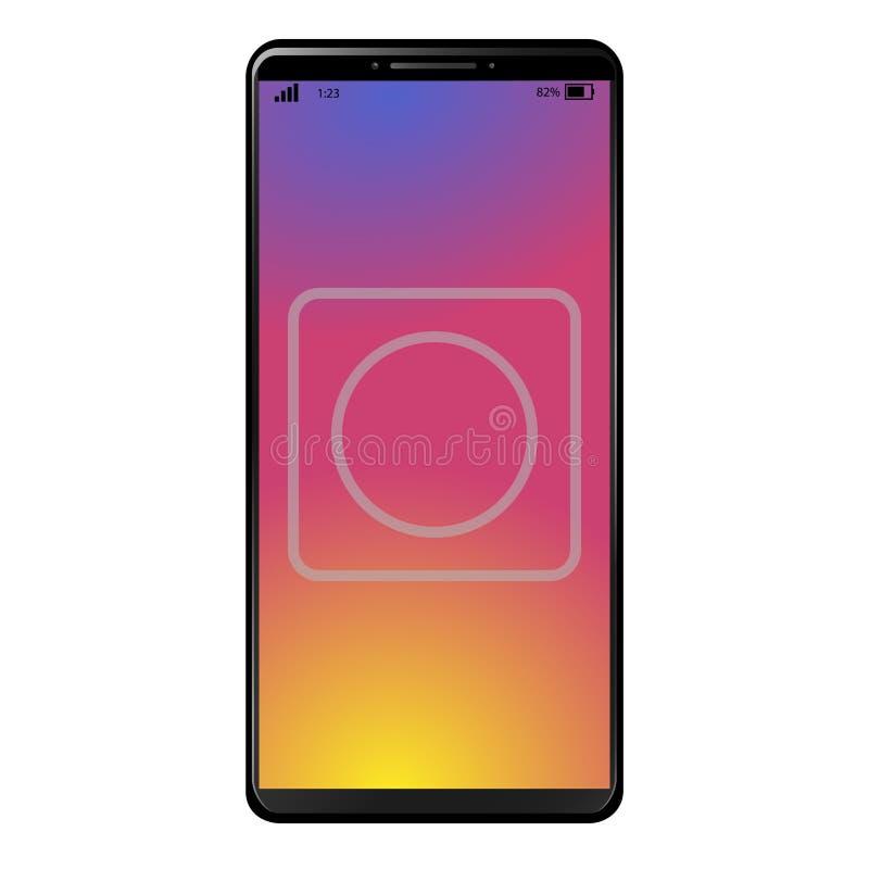 Smart Phone moderno generico con la macchina fotografica sul fondo di tramonto immagine stock