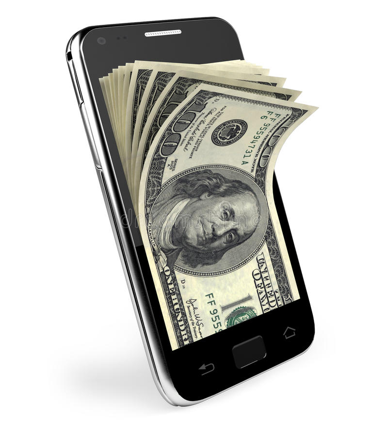 Smart phone with money concept. Dollars. stock illustration