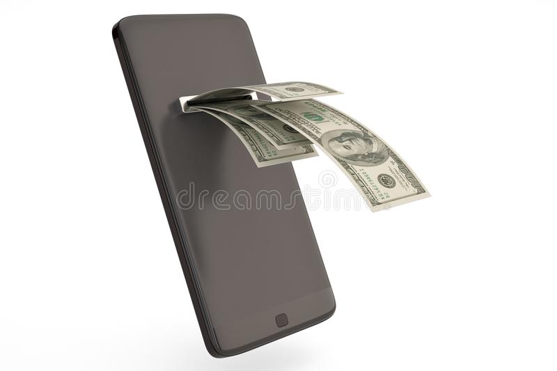 Smart phone with money concept dollars.3D illustration. Smart phone with money concept dollars. 3D illustration vector illustration
