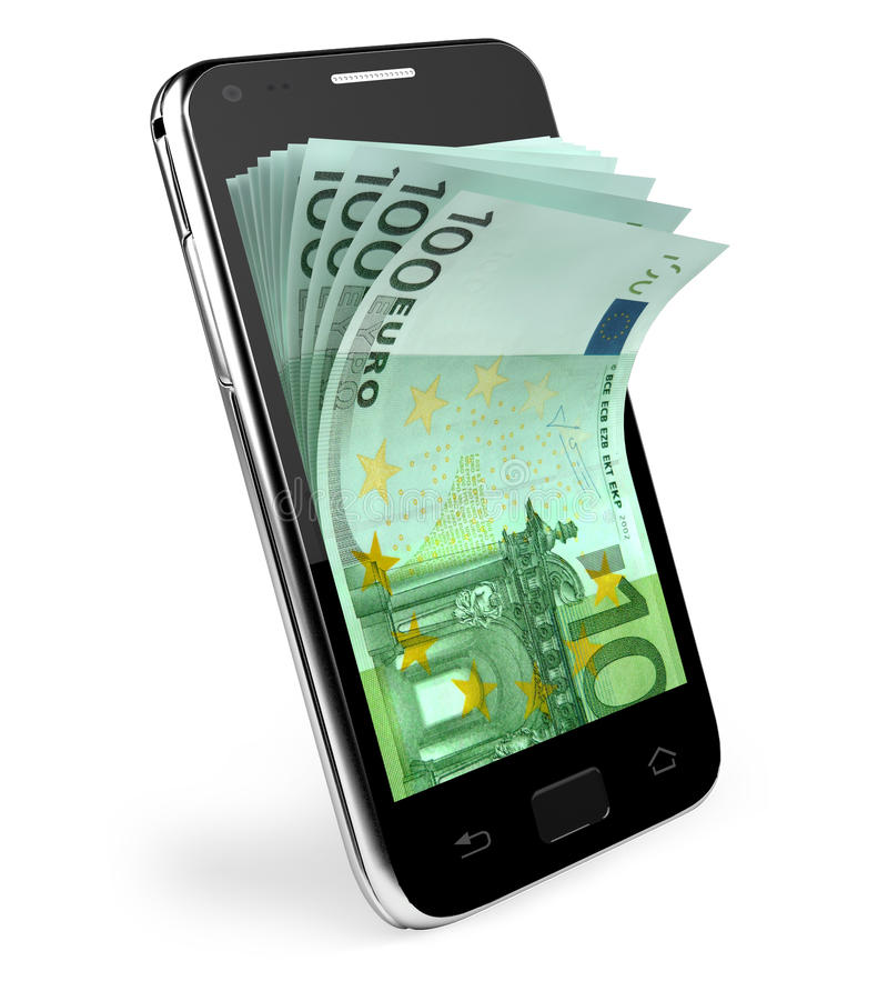 Smart phone with money concept. Euro. stock illustration