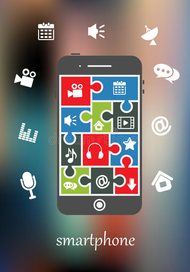 Smart phone with multimedia icons vector illustration