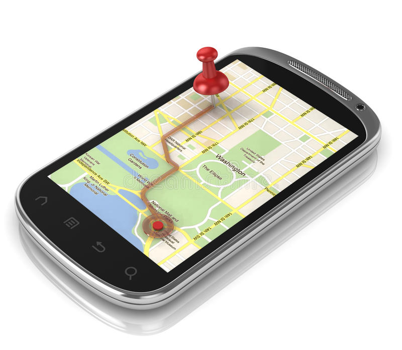 Smart phone navigation - mobile gps 3d concept stock illustration