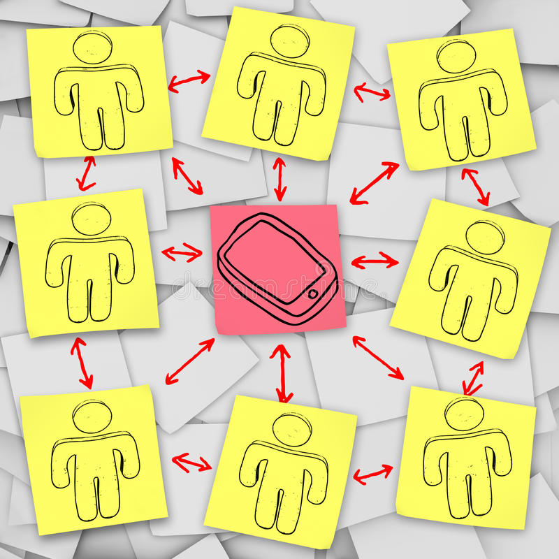 Smart Phone Network Connections - Sticky Notes royalty free illustration